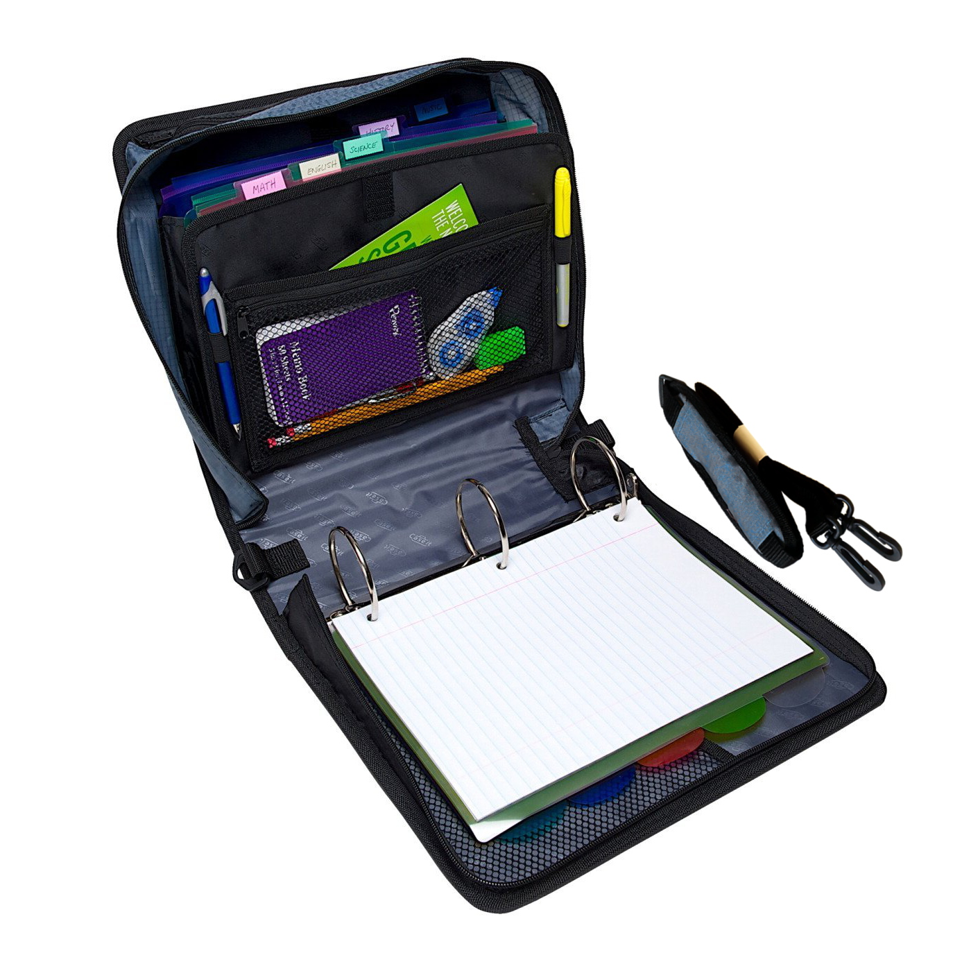 Case-it The Mighty Zip Tab 3-Inch Black Zipper Binder 3