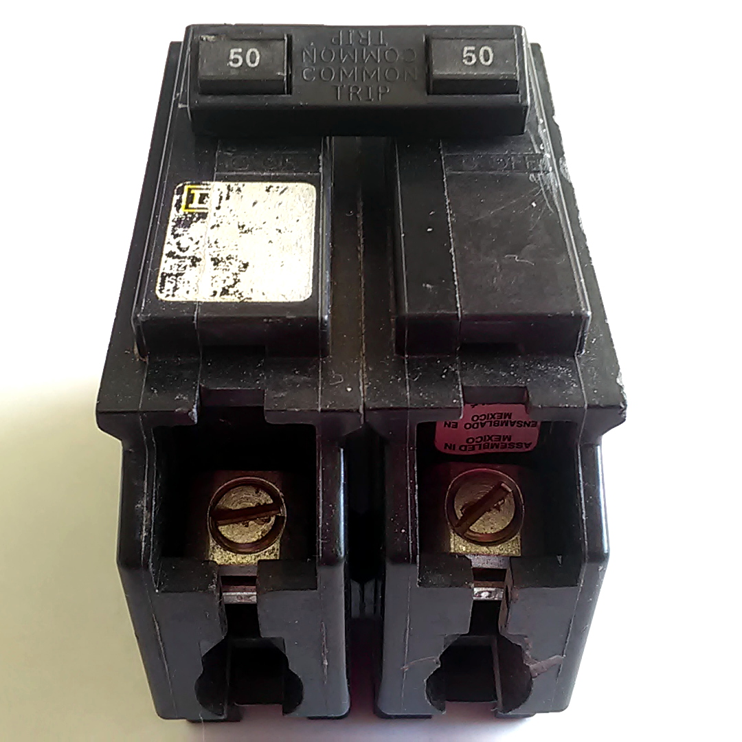 Square D 2 Pole 50 Amp Hom250cp Homeline Double Common Trip Trippingcircuitbreakerpaneljpg Circuit Breaker