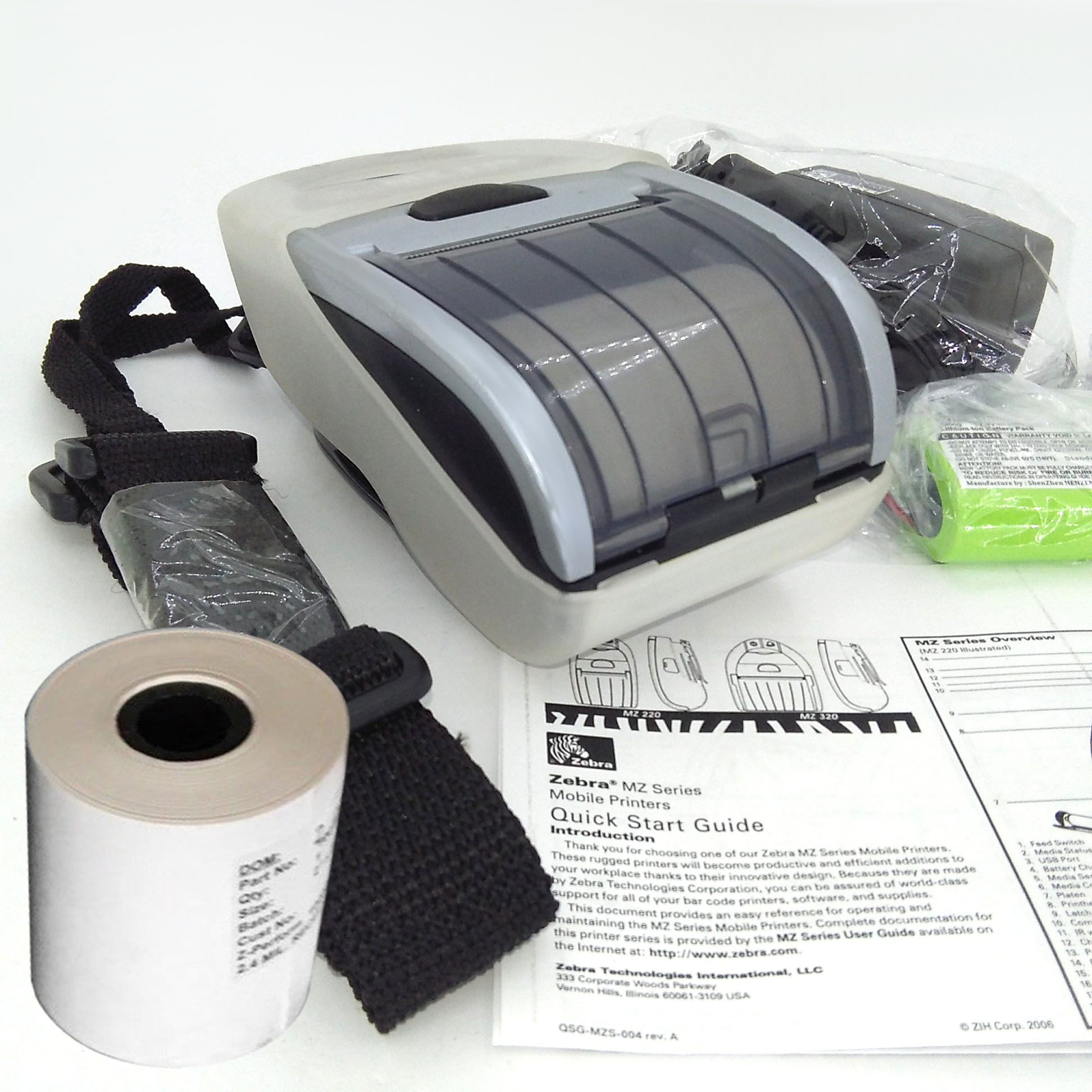 Zebra MZ220 Mobile Portable Bluetooth Printer With Charger, Battery, Case,  Paper