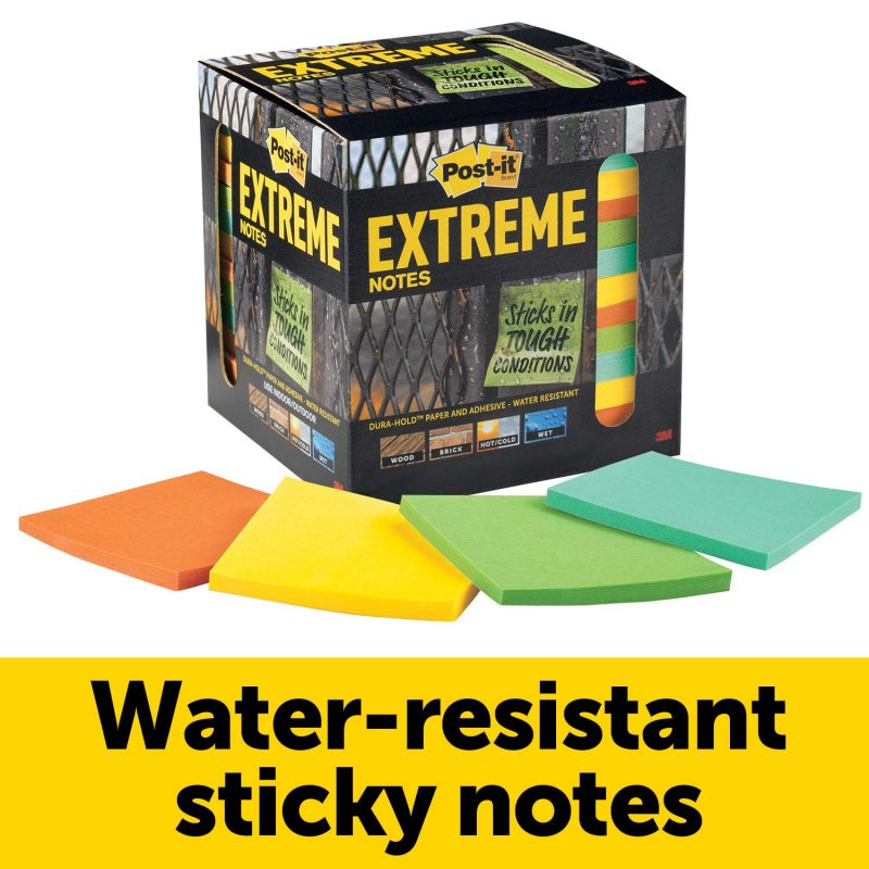 "Post-it Extreme Notes 3x3"" 12 pads in Box 45 sheets / pad Sticks in Tough Places"